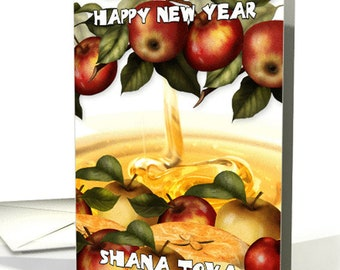 Rosh hashanah card etsy rosh hashanah greeting card with apples shana tova card m4hsunfo