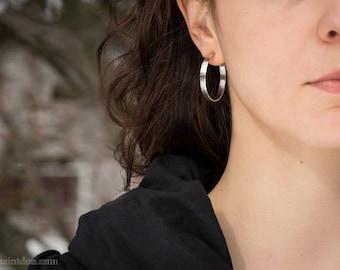 30mm, Wavy Texture, Wide Sterling Silver Hoop Earrings,