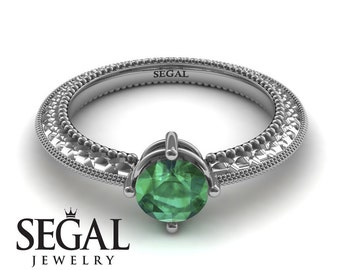 Emerald Engagement Ring White Gold Green Emerald Ring Alternative Ring Art Deco Ring Antique Ring Green Emerald Engagement Ring - Alexandra