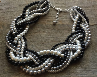 Black Grey Pearl Statement Necklace, Multi Strand Wedding Necklace, Chunky Braided Necklace on Silver or Gold Chain