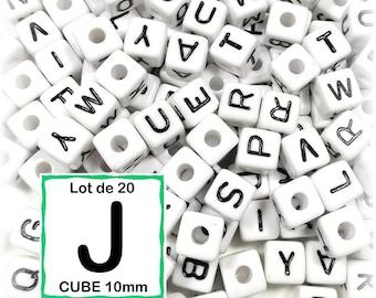 """20 beads 10 mm - 10mm cube letter beads alphabet """"J"""""""