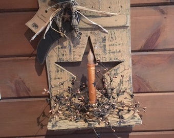 Primitive Crow Candle Shelf