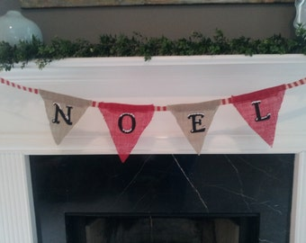 Embroidered Burlap Christmas Banner