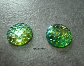 (CABR17) Set of 4 pretty cabochon resin Mermaid scales / dragon scale / reptile 16mm