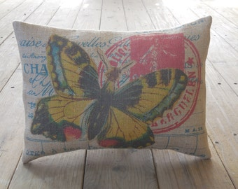 Yellow Butterfly Burlap Pillow, French Postmark, Shabby Chic Decor, Farmhouse Pillows, B39, INSERT INCLUDED
