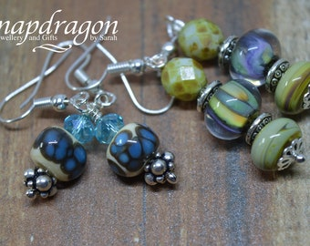 Set of two pairs of Lampwork glass bead earrings.
