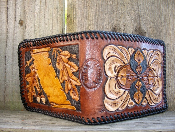 Mens wallet personalized western hand tooled and carved