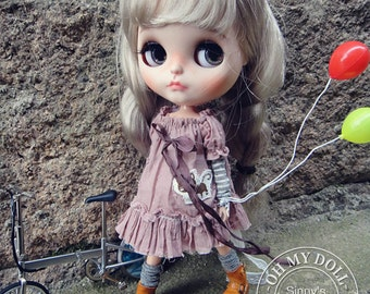 Hand Made Shabby Chic Dress/Outfit for Blythe/Pullips Dress/ Licca/ Azone A27