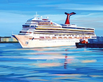 Maine Seascape Painting Casco Bay Cruise Ship