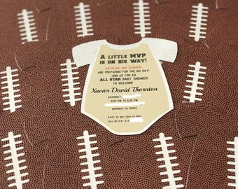 Football Sport themed baby shower invitation shaped like a onesie!!