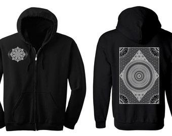 Geometric MERIDIANS Hoodie Men's and Women's Black Hooded Sweatshirt Sacred Geometry Pattern