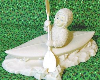 Department 56 Snowbabies Crossing Starry Nights Porcelain Figurine in Box Christmas Snowbaby in Kayak
