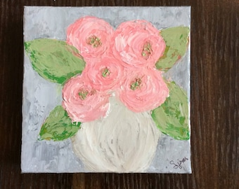 Pink Peonies Flower Painting Original
