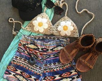 Crochet top festival top boho top flower bralette hippie gypsy bohemian coachella