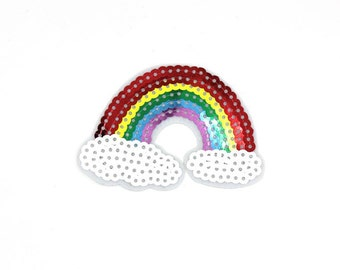 Rainbow Sequin Patch Sew On / Iron On DIY Patch Embroidered Applique 8.2x6cm - RP257