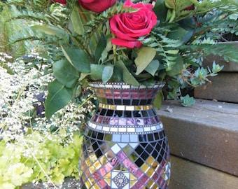 Rose & Gold Mosaic Vase