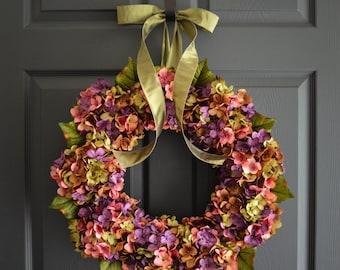 Spring Wreath | Blended Hydrangea Wreath | Front Door Wreaths | Everyday Wreath | Outdoor Wreaths | Housewarming Gift