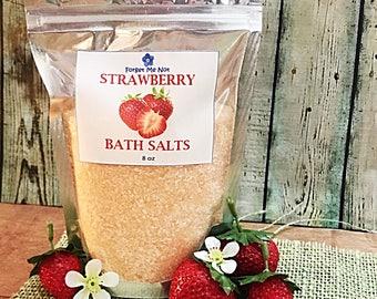 Bath Salts: Strawberry Bath Salts. Luscious, Sweet, Rejuvenating. Sea Salt Epsom Salt Relax Muscles