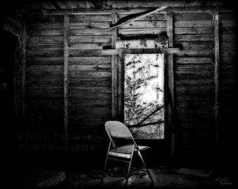 Old Abandoned House with Chair Waiting Looking out a Window Black and White Grunge Photo Print