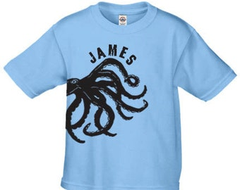 Personalized octopus t shirt for kids