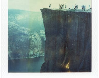Norway, Old Polaroids, SX70, Polaroid Photography, Pulpit Rock, Preikestolen, Cliff, Mountains, Fjord, SX 70, People, Landscape Photography