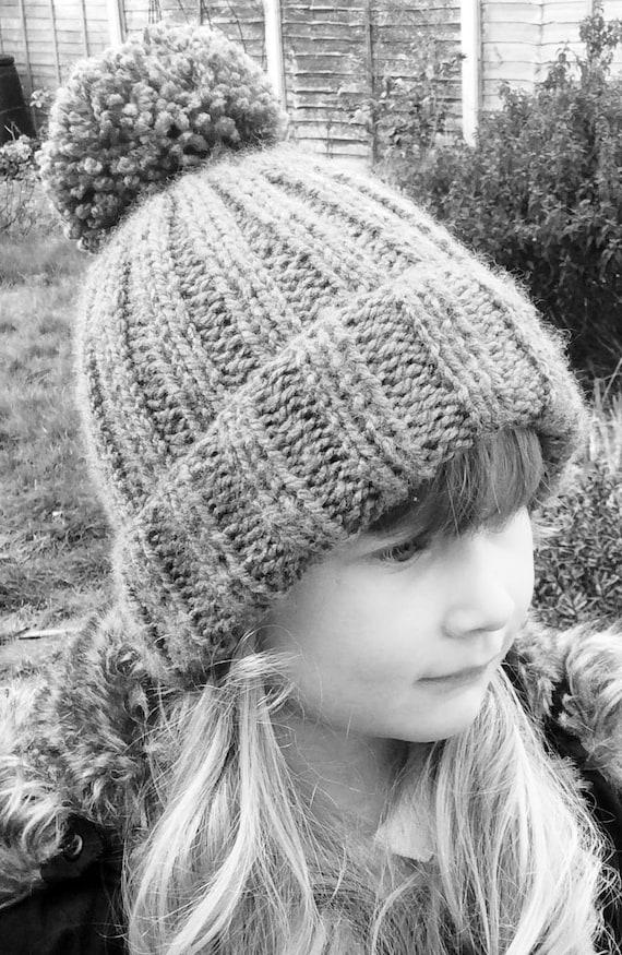 Knitted Ribbed Bobble Hat Pattern Pom Pom Hat Knitting Pattern
