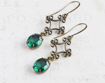 Smaragd grün, Antik Messing baumelt, ovale Strass Ohrringe, grün Brautjungfer Schmuck rsw1