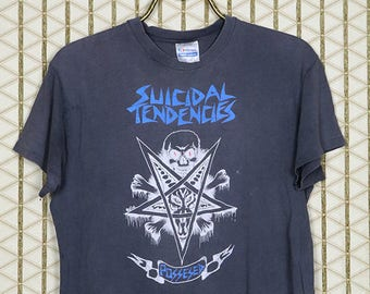 Suicidal Tendencies vintage rare T-shirt, faded black tee, hardcore punk, The Exploited, The Cro-Mags, Agnostic Front, Pentagram