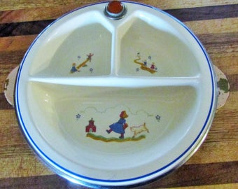 Vintage Bartsch Warming Water Heater Childs Divided Plate