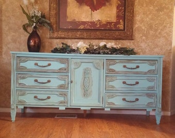 Sold!shabby Chic Dresser, Country Chic, Chalk Painted Dresser, Bassett  Furniture,