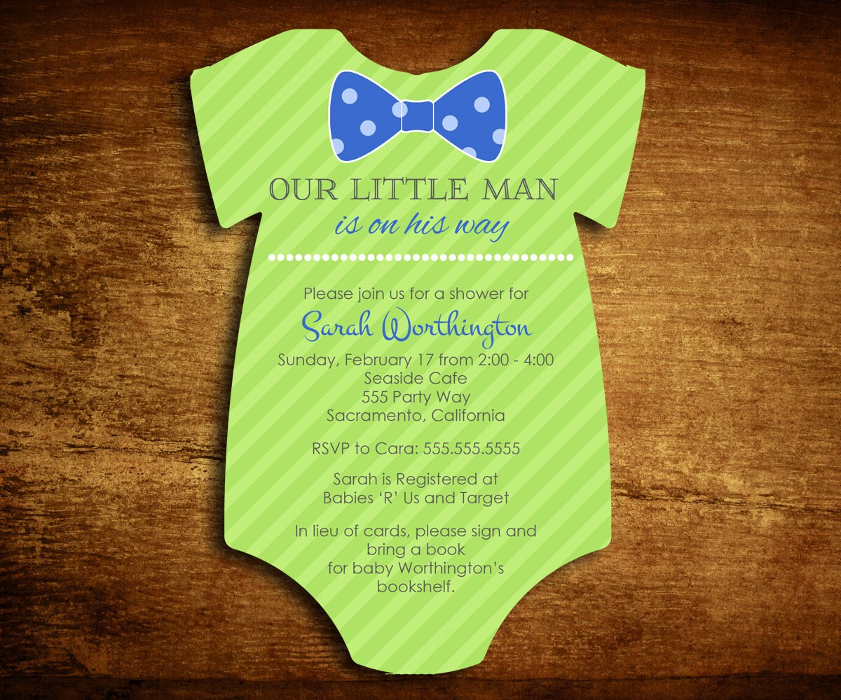 Little Man Baby Shower Invitation Bow Tie Shower Invite