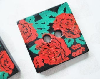 Vintage Square Buttons - 2 Red Rose Buttons - Square Red and Black Buttons - Large Square Red and Green Flower Buttons - Red Floral Buttons