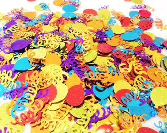 Colorful balloon and serpentine foil confetti, assorted colors, double-sided (a handful)