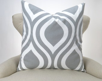 Gray Ogee Pillow Cover -up to 28x28- Emily Storm white custom decorative cushion euro sham bold modern big large floor pillow neutral