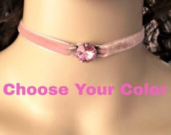Bridesmaid Choker, Swarovski, Single Stone, Choose Your Colors, Bridal party gift, DKSJewelrydesigns, FREE SHIPPING