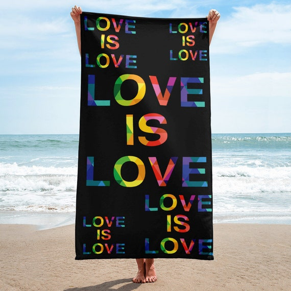 Love is Love Colorful Towel Rainbow Beach Towel Gift