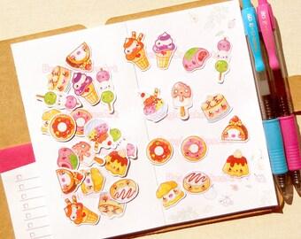 Pastry Stickers, Kawaii Sticker Pack, Cake Stickers, Baking Stickers, Cupcake Sticker, Stickers for Planner, Ice Cream Sticker, Scrapbooking