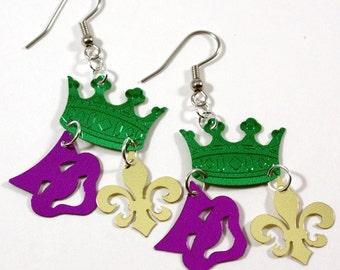 Roi de Mardi Gras boucles d'oreilles Couronne visage masque Fleur de Lys confettis se balance en plastique paillettes