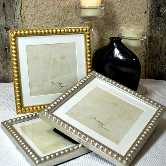 7x7 inch Frame With Mat For a 5x5 Image in Silver or Gold Boules ...