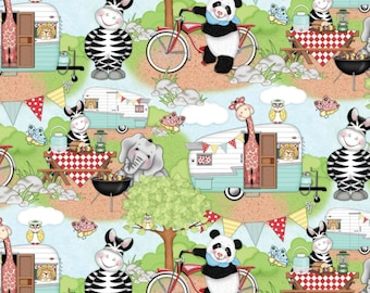 "Bazooples Fabric, Jungle Animals Fabric: Bazooples Campout Toss Animal Campers -Camping & BBQ 100% cotton Fabric by the yard 36""x43"" (SC197)"