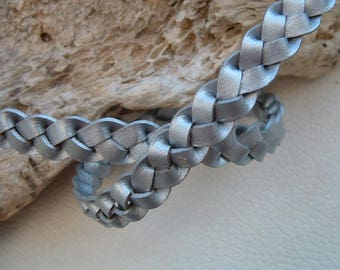 50cm width 12mm silver braided leather cord