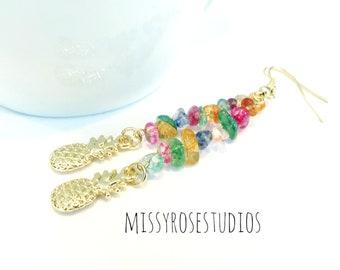 gold pineapple earrings, pineapple jewelry, tropical earrings, summer earrings, quartz earrings gold, long stone earrings, earrings crystal