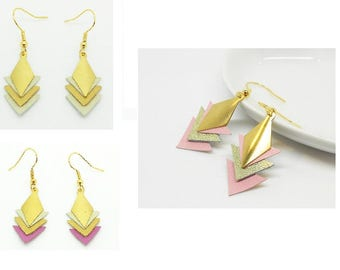 earrings are made of gold leather fasteners plated gold, various colors