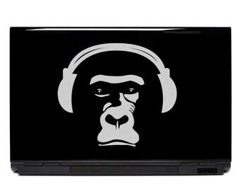 Monkey Sticker Laptop Decal or Car Decals FREE SHIPPING, netbook art notebook sticker primate monkey skateboard stickers headphones