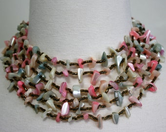 Mother of Pearl 6 Strand Necklace & Earrings Set Tinted Vintage Made in Japan