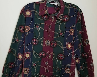 Vintage Chain & Pendant Design Navy Forest Green and Burgundy Blouse by EHL, Vintage Blouses, Women's Vintage, 90's fashion, Old Blouses