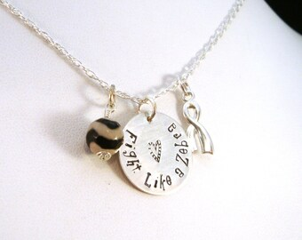 Fight Like a Zebra EDS Awareness Necklace / EDS Necklace / Ehlers Danlos Necklace / Sterling Silver Necklace / Fight Like a Zebra