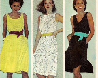 "A Sleeveless, Elastic Waist, Flared Skirt Dress with Neckline Variations Sewing Pattern for Women: Uncut - Size 12, Bust 34"" • McCall's 7136"