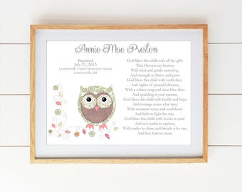 Baby girl baptism etsy baby girl baptism gift christening gifts for girl owl nursery decor personalized gift negle Gallery