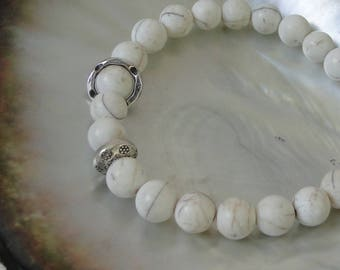 CONCH SHELL Bead Bracelet with Sterling bead, white, boho, tribal, shell
